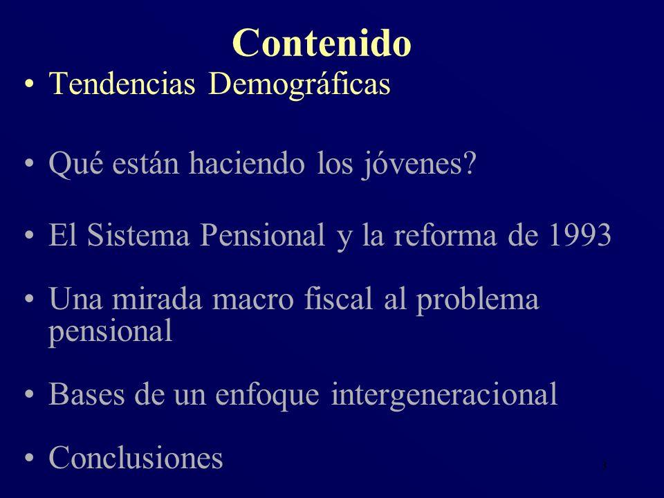 3 Tendencias Demográficas Qué están haciendo los jóvenes? El Sistema Pensional y la reforma de 1993 Una mirada macro fiscal al problema pensional Base