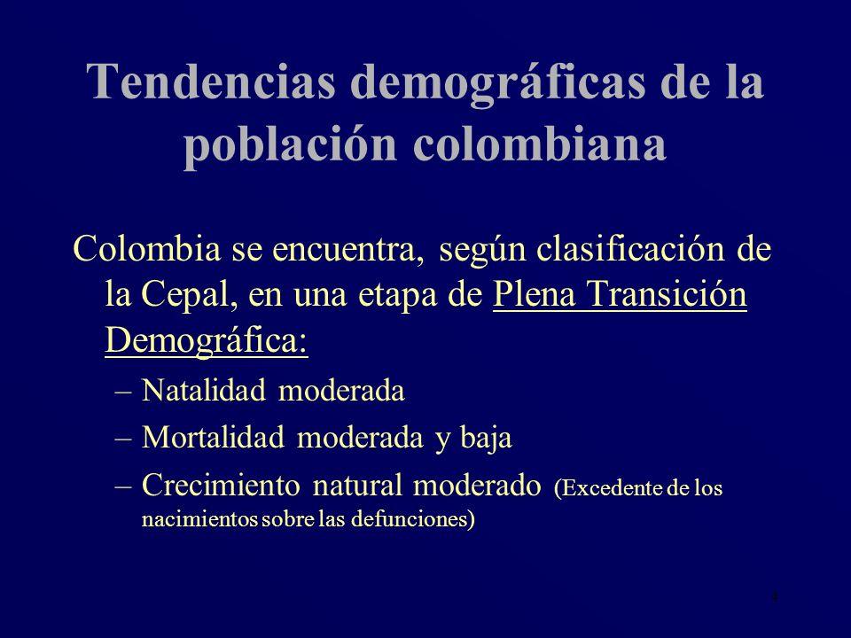 4 Tendencias demográficas de la población colombiana Colombia se encuentra, según clasificación de la Cepal, en una etapa de Plena Transición Demográf