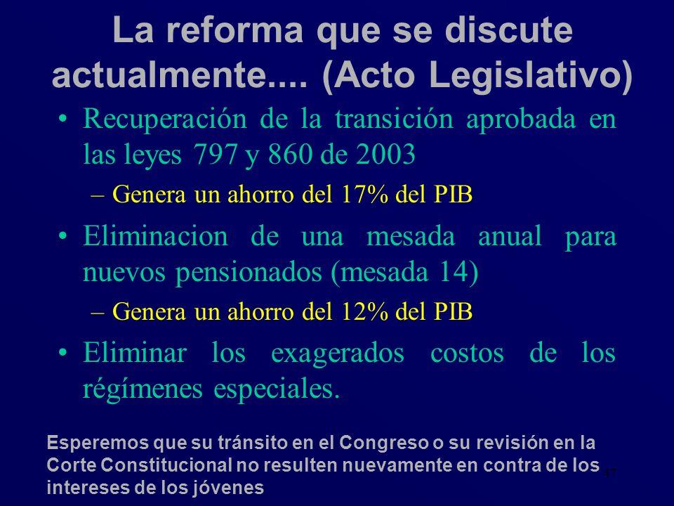 47 La reforma que se discute actualmente.... (Acto Legislativo) Recuperación de la transición aprobada en las leyes 797 y 860 de 2003 –Genera un ahorr