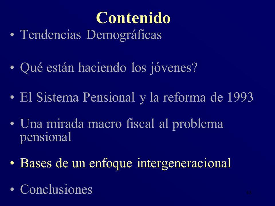 48 Tendencias Demográficas Qué están haciendo los jóvenes? El Sistema Pensional y la reforma de 1993 Una mirada macro fiscal al problema pensional Bas