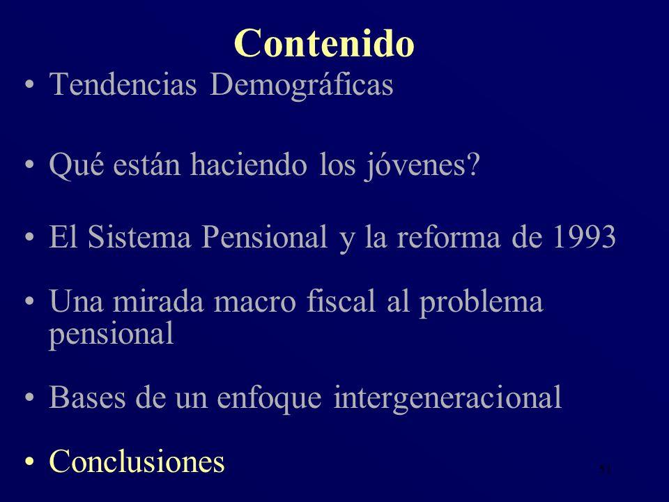 51 Tendencias Demográficas Qué están haciendo los jóvenes? El Sistema Pensional y la reforma de 1993 Una mirada macro fiscal al problema pensional Bas