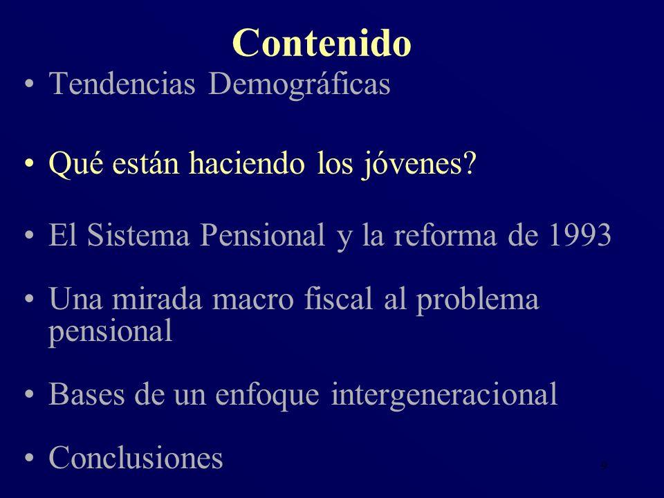 9 Tendencias Demográficas Qué están haciendo los jóvenes? El Sistema Pensional y la reforma de 1993 Una mirada macro fiscal al problema pensional Base