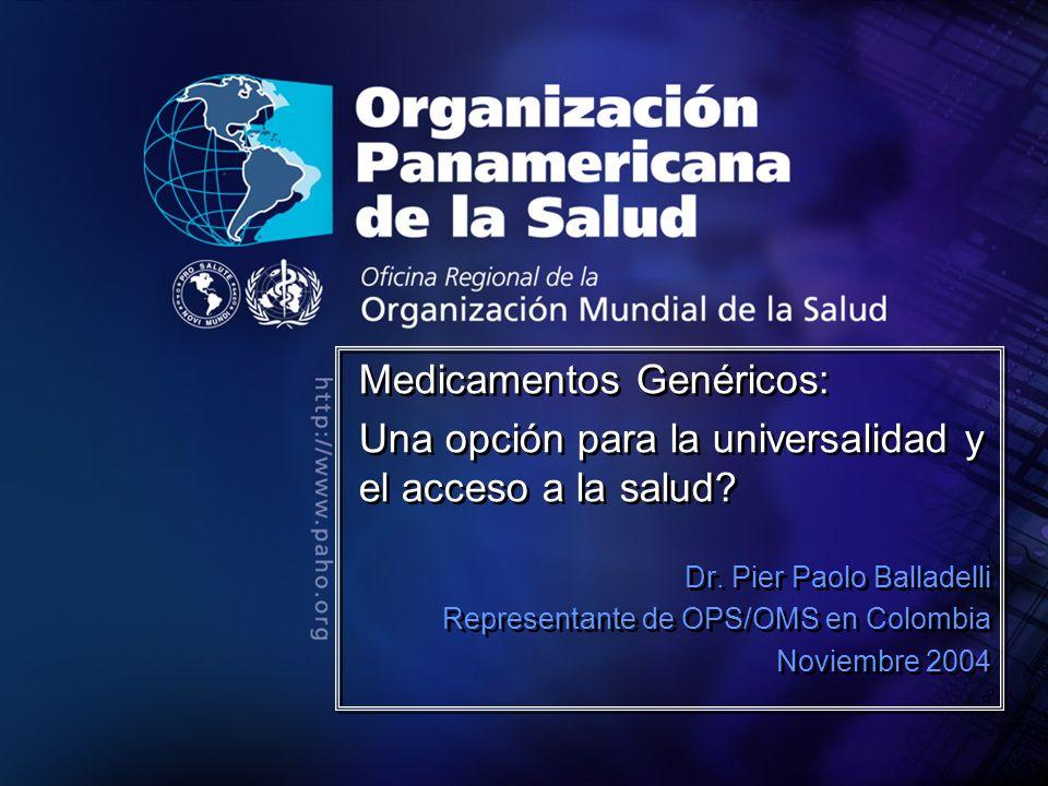 2004 Organización Panamericana de la Salud Tratado de Libre Comercio - 1 Patentes de segundos usos, otros 20 años de exclusividad Protección de datos de prueba, actualmente en Colombia es por 5 años, se espera que EEUU acepte un plazo menos ambicioso Cambios de criterios de patentabilidad, ampliar el espectro.