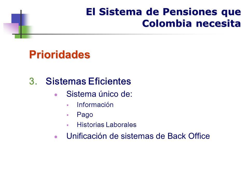 Prioridades 3.Sistemas Eficientes Sistema único de: Información Pago Historias Laborales Unificación de sistemas de Back Office El Sistema de Pensiones que Colombia necesita