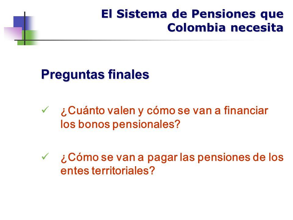 Preguntas finales ¿Cuánto valen y cómo se van a financiar los bonos pensionales.