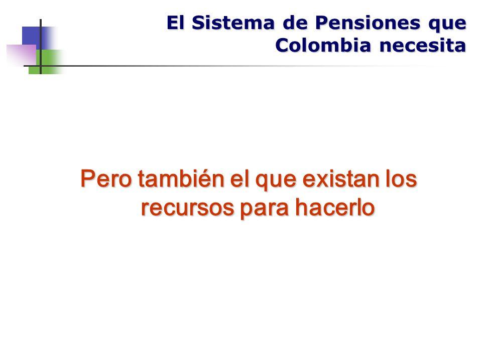 El Sistema de Pensiones que Colombia necesita Pero también el que existan los recursos para hacerlo