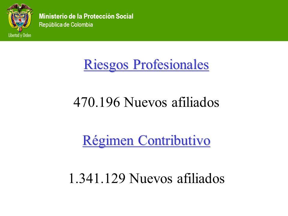 Ministerio de la Protección Social República de Colombia Riesgos Profesionales 470.196 Nuevos afiliados Régimen Contributivo 1.341.129 Nuevos afiliado
