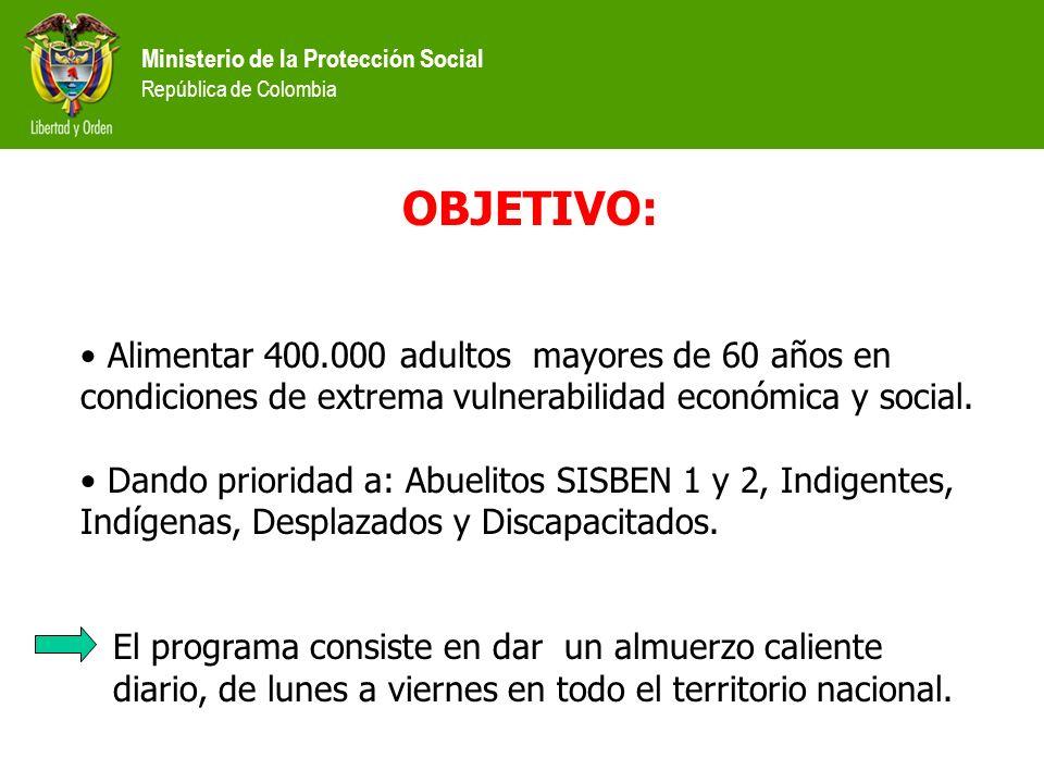 Ministerio de la Protección Social República de Colombia OBJETIVO: Alimentar 400.000 adultos mayores de 60 años en condiciones de extrema vulnerabilid