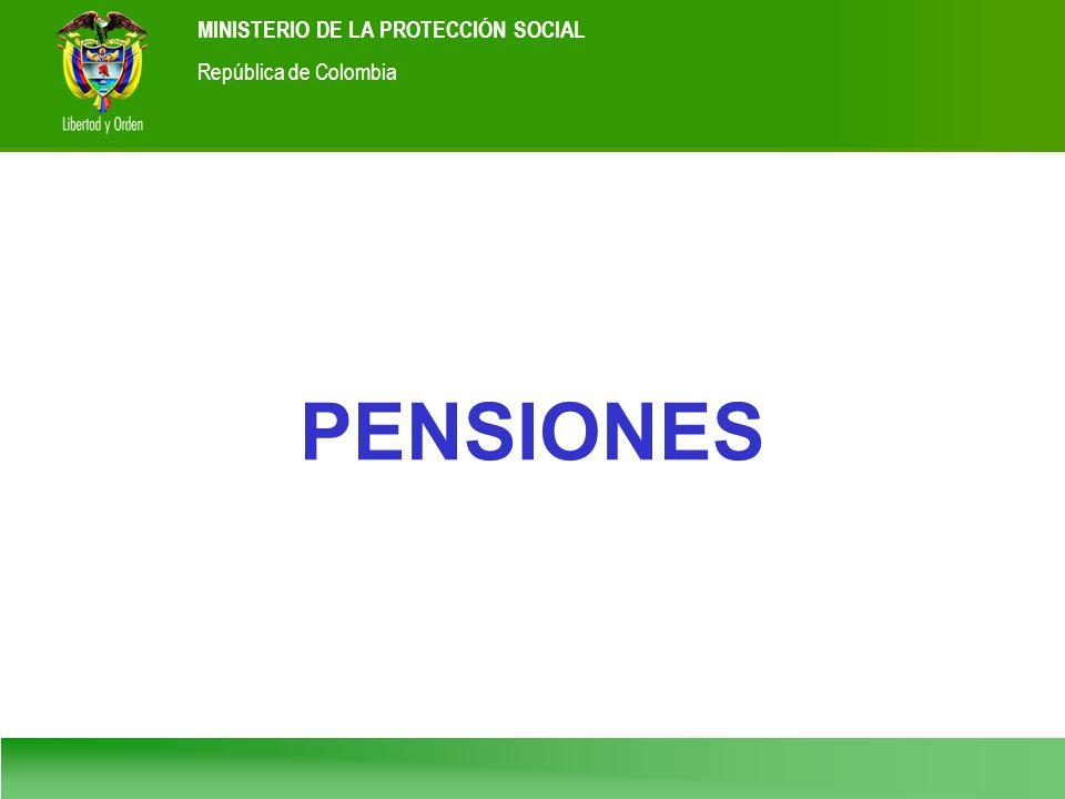Ministerio de la Protección Social República de Colombia MINISTERIO DE LA PROTECCIÓN SOCIAL República de Colombia PENSIONES