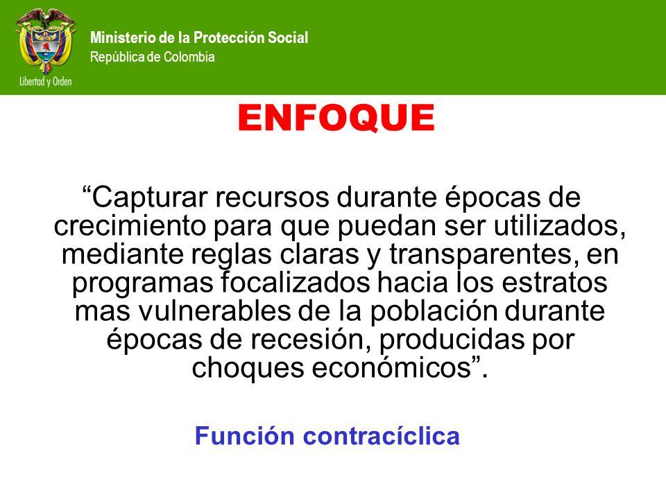Ministerio de la Protección Social República de Colombia ENFOQUE Capturar recursos durante épocas de crecimiento para que puedan ser utilizados, media