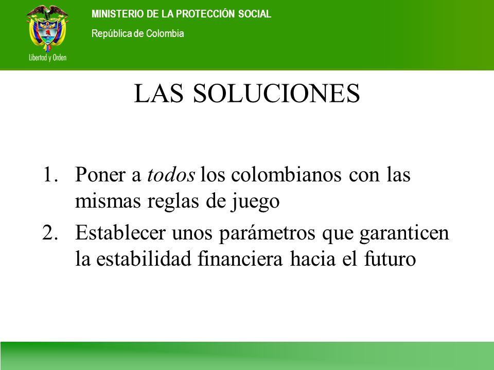 Ministerio de la Protección Social República de Colombia MINISTERIO DE LA PROTECCIÓN SOCIAL República de Colombia LAS SOLUCIONES 1.Poner a todos los c