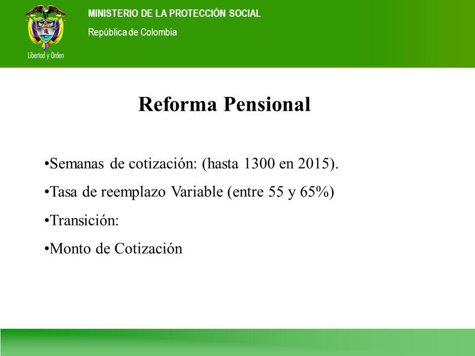Ministerio de la Protección Social República de Colombia MINISTERIO DE LA PROTECCIÓN SOCIAL República de Colombia Reforma Pensional Semanas de cotizac