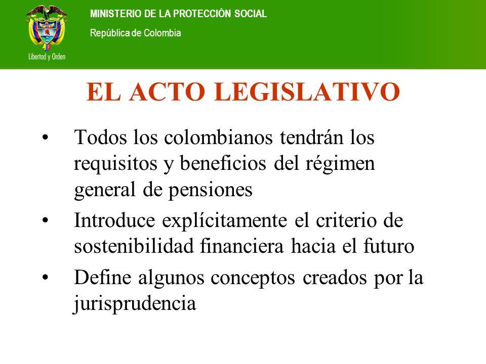 Ministerio de la Protección Social República de Colombia MINISTERIO DE LA PROTECCIÓN SOCIAL República de Colombia EL ACTO LEGISLATIVO Todos los colomb