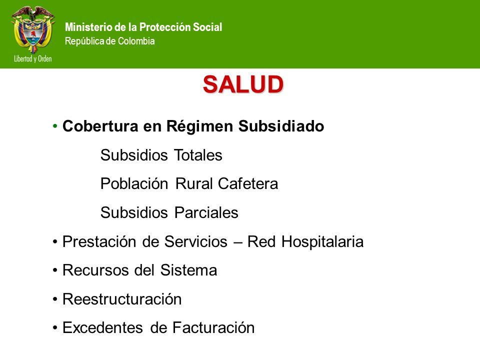 Ministerio de la Protección Social República de Colombia SALUD Cobertura en Régimen Subsidiado Subsidios Totales Población Rural Cafetera Subsidios Pa
