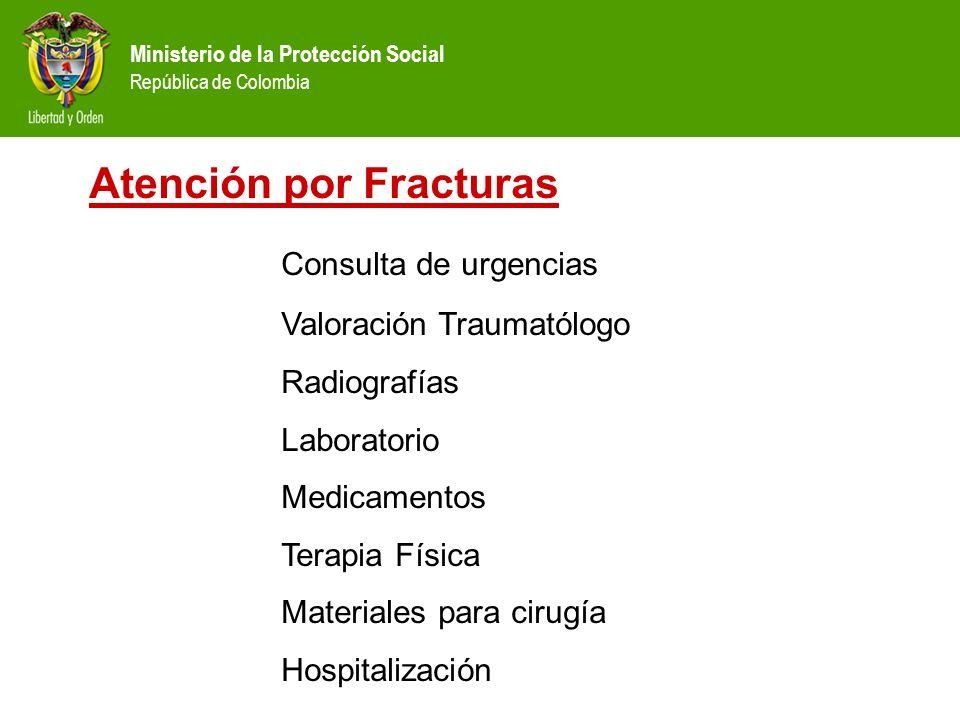 Ministerio de la Protección Social República de Colombia Atención por Fracturas Consulta de urgencias Valoración Traumatólogo Radiografías Laboratorio