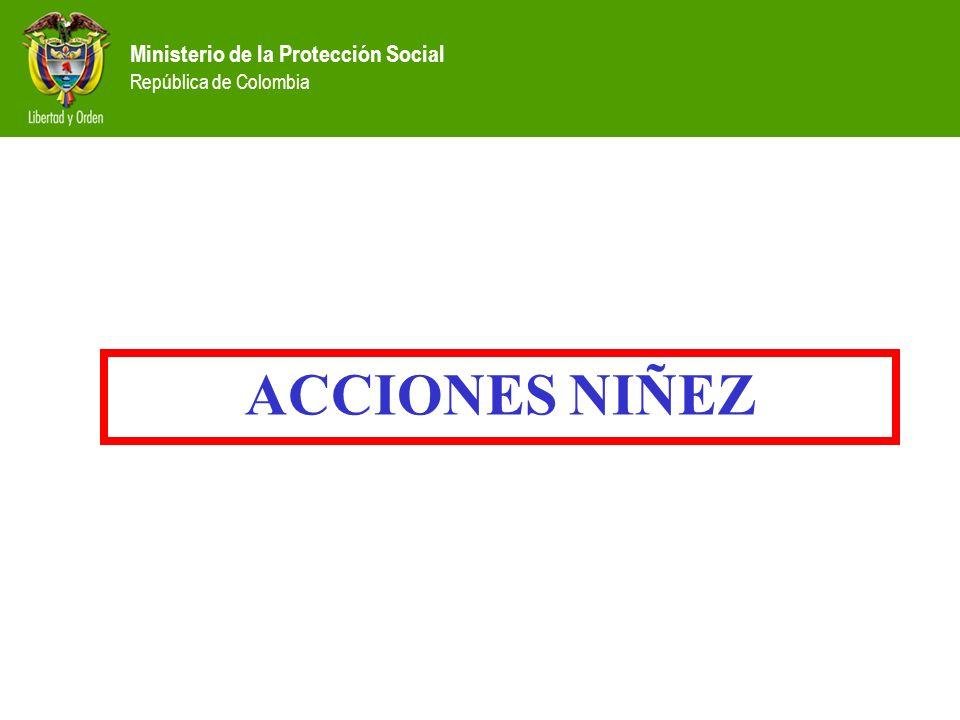 Ministerio de la Protección Social República de Colombia ACCIONES NIÑEZ