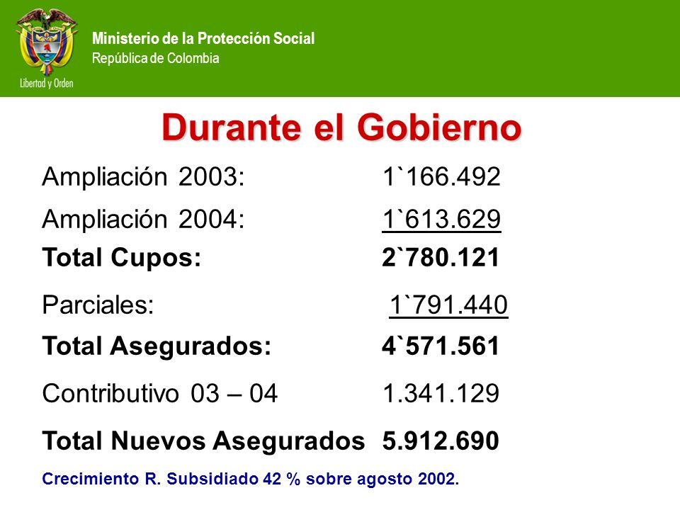 Ministerio de la Protección Social República de Colombia Durante el Gobierno Ampliación 2003: 1`166.492 Ampliación 2004: 1`613.629 Total Cupos: 2`780.