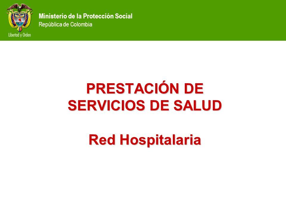 Ministerio de la Protección Social República de Colombia PRESTACIÓN DE SERVICIOS DE SALUD Red Hospitalaria