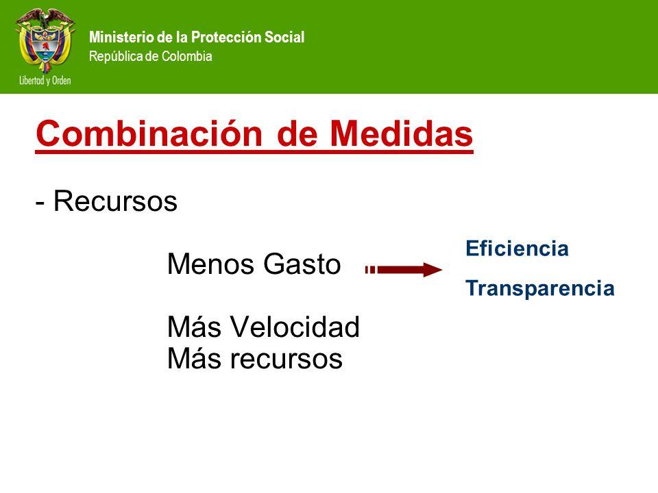 Ministerio de la Protección Social República de Colombia Combinación de Medidas - Recursos Menos Gasto Más Velocidad Más recursos Eficiencia Transpare
