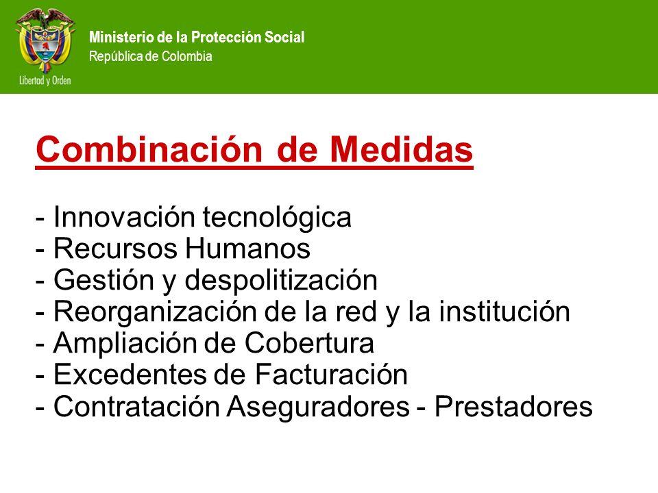 Ministerio de la Protección Social República de Colombia Combinación de Medidas - Innovación tecnológica - Recursos Humanos - Gestión y despolitizació