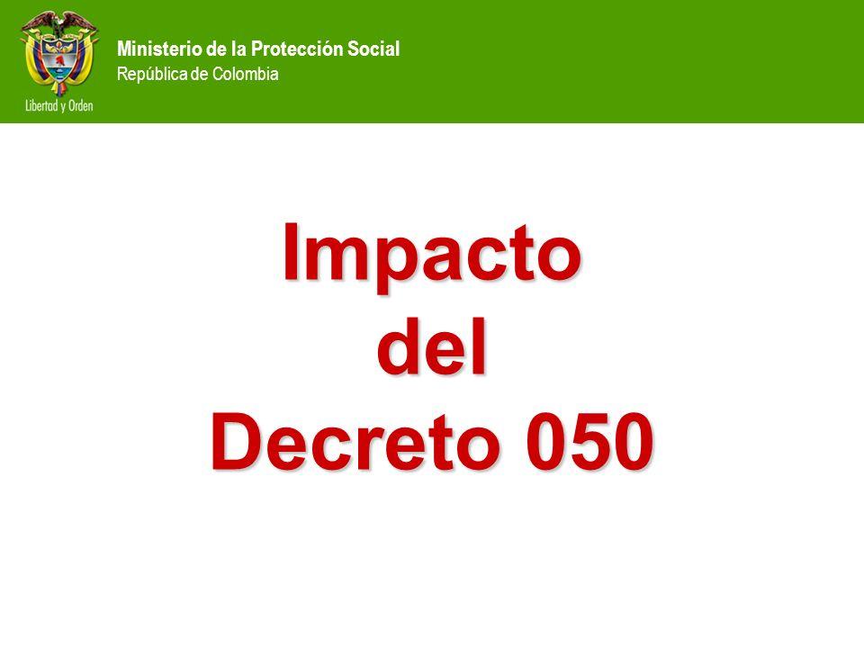 Ministerio de la Protección Social República de Colombia Impacto del Decreto 050