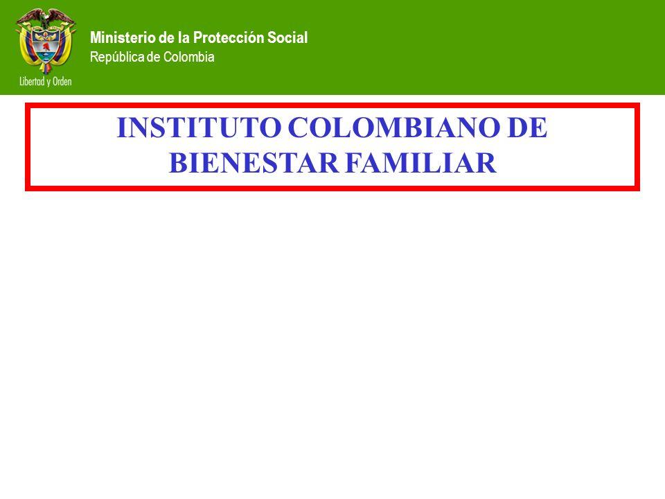 Ministerio de la Protección Social República de Colombia INSTITUTO COLOMBIANO DE BIENESTAR FAMILIAR