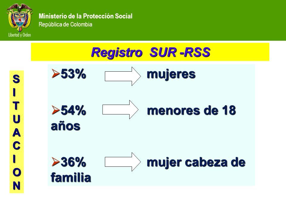 53% mujeres 53% mujeres 54% menores de 18 años 54% menores de 18 años 36% mujer cabeza de familia 36% mujer cabeza de familia Registro SUR -RSS SITUACION
