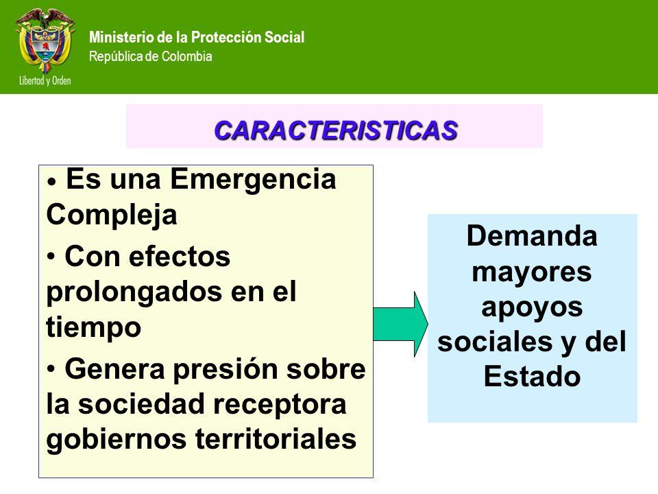 Ministerio de la Protección Social República de Colombia Es una Emergencia Compleja Con efectos prolongados en el tiempo Genera presión sobre la sociedad receptora gobiernos territoriales CARACTERISTICAS Demanda mayores apoyos sociales y del Estado