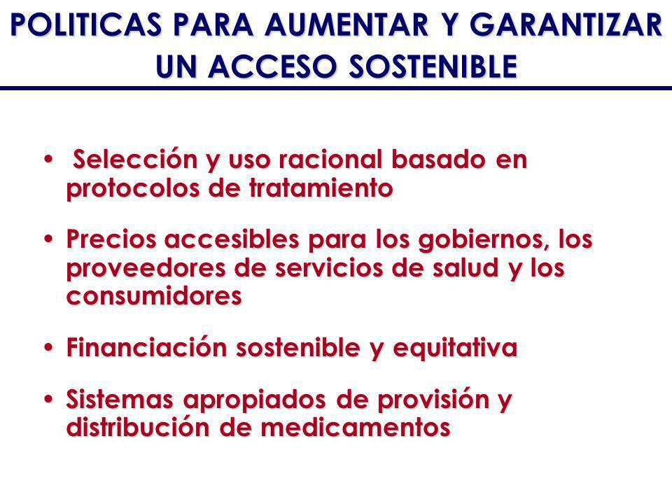 S Selección y uso racional basado en protocolos de tratamiento Precios accesibles para los gobiernos, los proveedores de servicios de salud y los cons