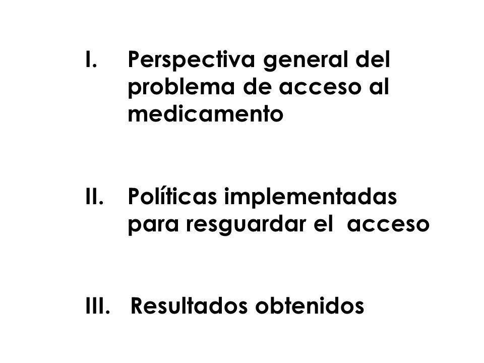 I.Perspectiva general del problema de acceso al medicamento II.Políticas implementadas para resguardar el acceso III. Resultados obtenidos