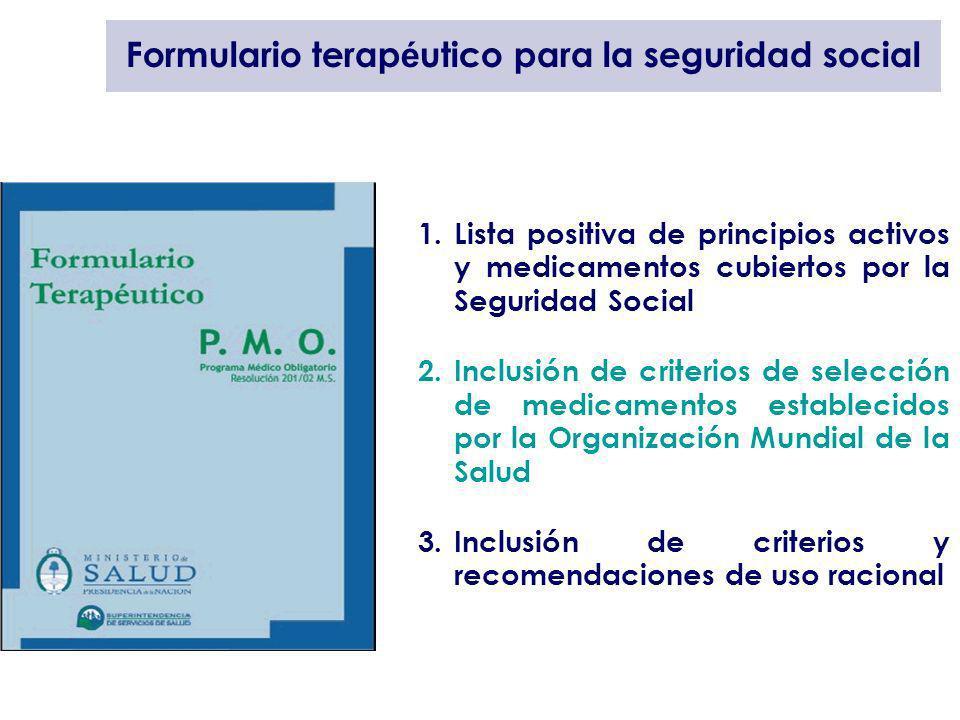 Formulario terap é utico para la seguridad social 1.Lista positiva de principios activos y medicamentos cubiertos por la Seguridad Social 2.Inclusión
