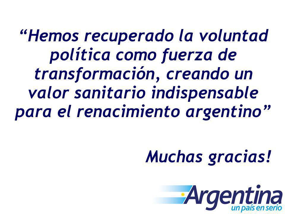 Hemos recuperado la voluntad política como fuerza de transformación, creando un valor sanitario indispensable para el renacimiento argentino Muchas gr