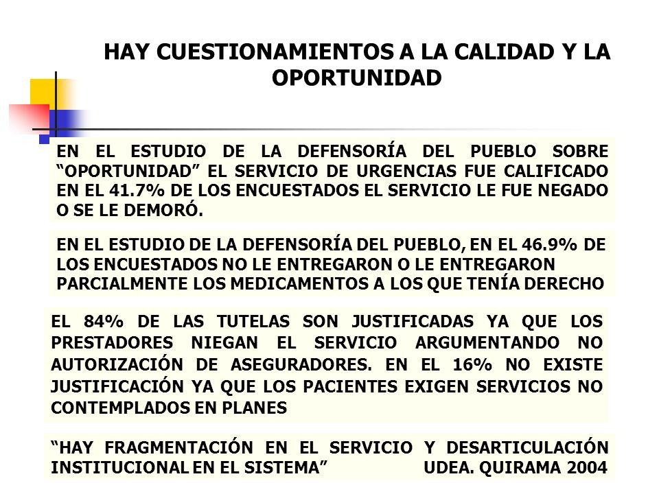 EN EL ESTUDIO DE LA DEFENSORÍA DEL PUEBLO SOBRE OPORTUNIDAD EL SERVICIO DE URGENCIAS FUE CALIFICADO EN EL 41.7% DE LOS ENCUESTADOS EL SERVICIO LE FUE
