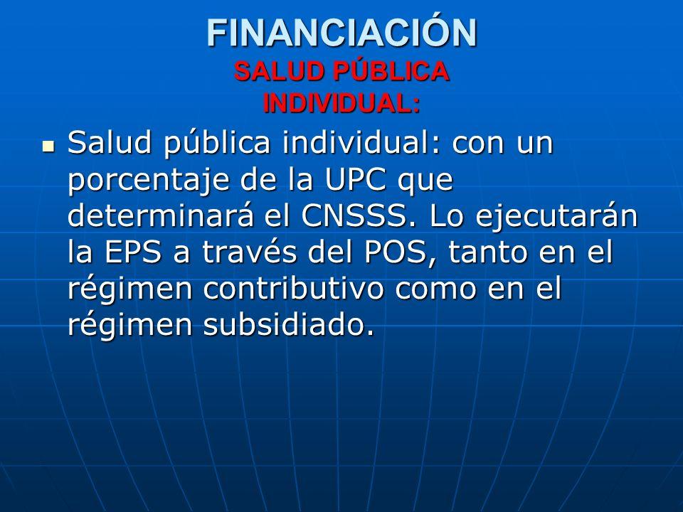 FINANCIACIÓN SALUD PÚBLICA INDIVIDUAL: Salud pública individual: con un porcentaje de la UPC que determinará el CNSSS. Lo ejecutarán la EPS a través d