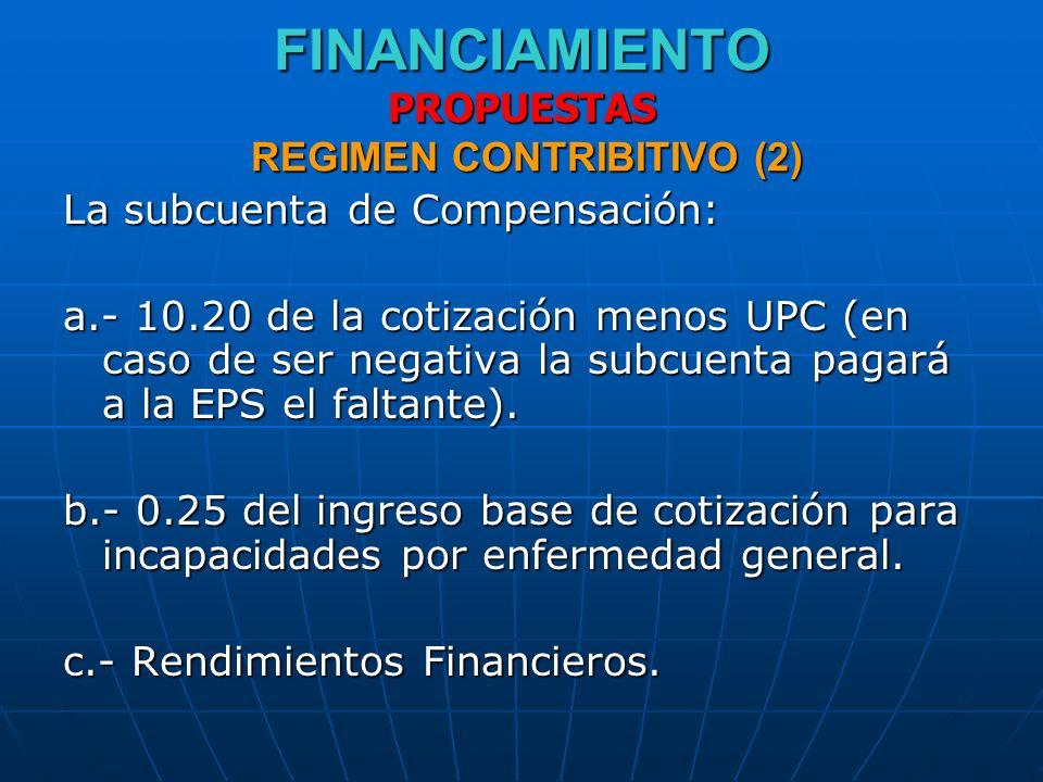 FINANCIAMIENTO PROPUESTAS REGIMEN CONTRIBITIVO (2) La subcuenta de Compensación: a.- 10.20 de la cotización menos UPC (en caso de ser negativa la subc