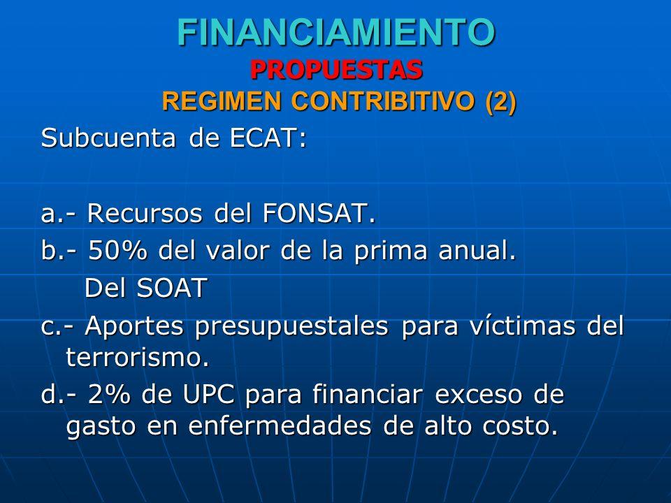 FINANCIAMIENTO PROPUESTAS REGIMEN CONTRIBITIVO (2) Subcuenta de ECAT: a.- Recursos del FONSAT. b.- 50% del valor de la prima anual. Del SOAT Del SOAT