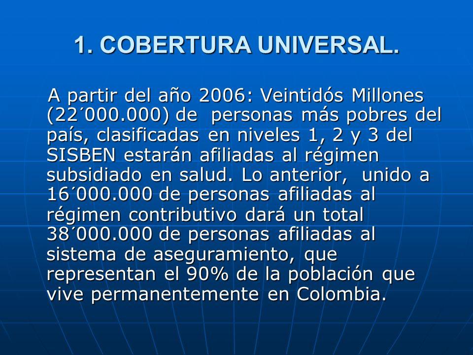 1. COBERTURA UNIVERSAL. A partir del año 2006: Veintidós Millones (22´000.000) de personas más pobres del país, clasificadas en niveles 1, 2 y 3 del S