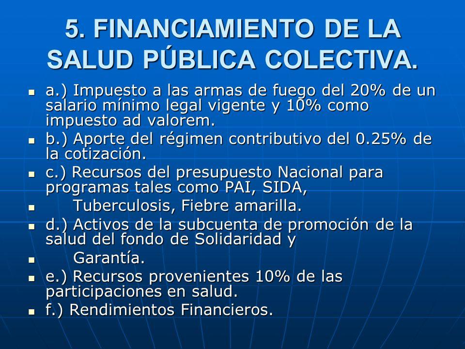 5. FINANCIAMIENTO DE LA SALUD PÚBLICA COLECTIVA. a.) Impuesto a las armas de fuego del 20% de un salario mínimo legal vigente y 10% como impuesto ad v