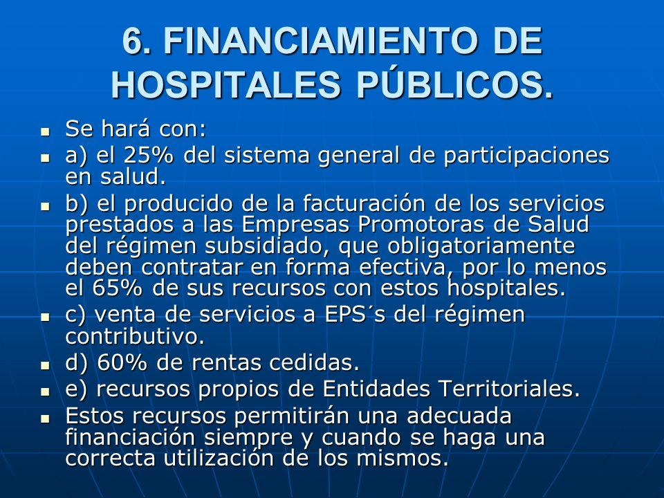 6. FINANCIAMIENTO DE HOSPITALES PÚBLICOS. Se hará con: Se hará con: a) el 25% del sistema general de participaciones en salud. a) el 25% del sistema g