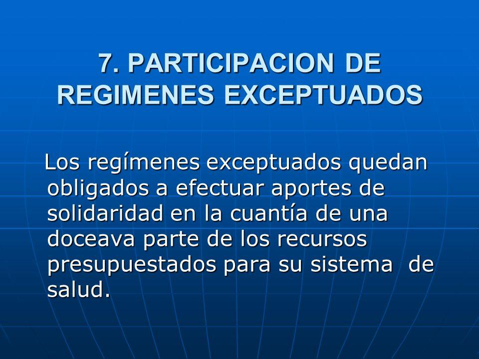 7. PARTICIPACION DE REGIMENES EXCEPTUADOS Los regímenes exceptuados quedan obligados a efectuar aportes de solidaridad en la cuantía de una doceava pa