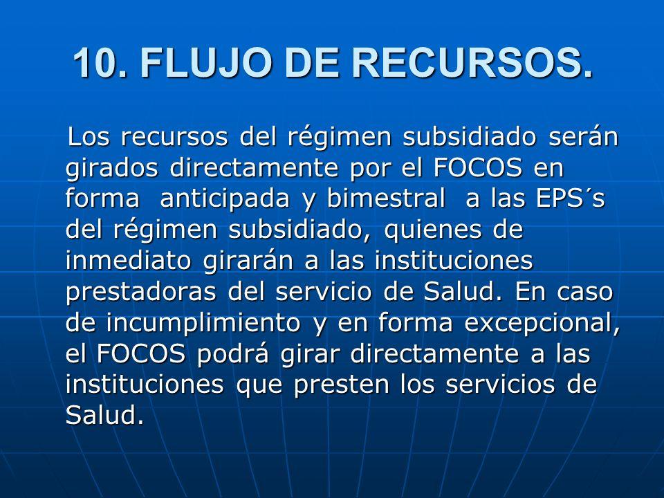 10. FLUJO DE RECURSOS. Los recursos del régimen subsidiado serán girados directamente por el FOCOS en forma anticipada y bimestral a las EPS´s del rég