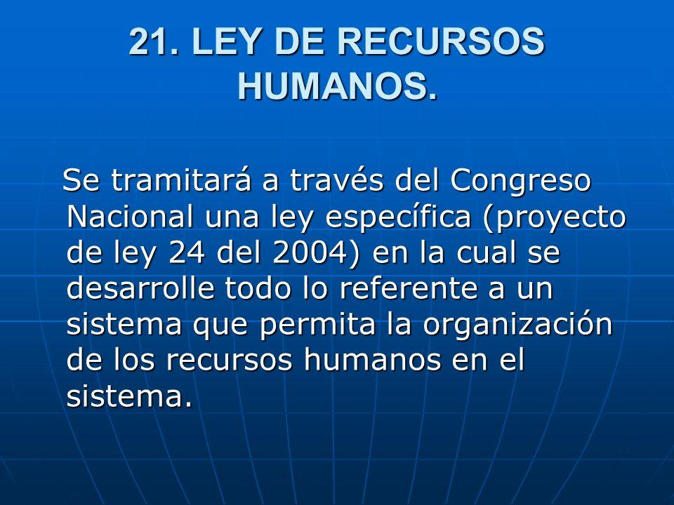21. LEY DE RECURSOS HUMANOS. Se tramitará a través del Congreso Nacional una ley específica (proyecto de ley 24 del 2004) en la cual se desarrolle tod