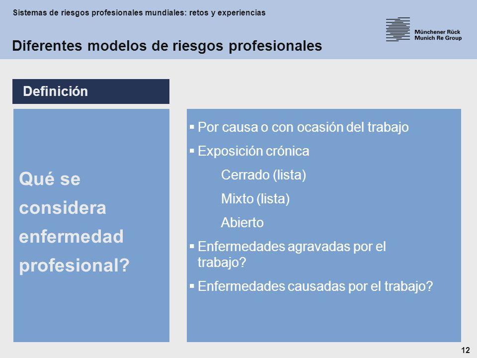 Sistemas de riesgos profesionales mundiales: retos y experiencias 12 Qué se considera enfermedad profesional.