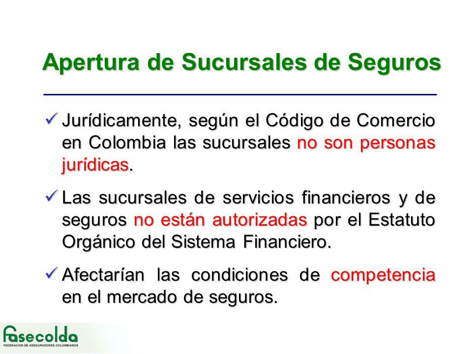 Apertura de Sucursales de Seguros Jurídicamente, según el Código de Comercio en Colombia las sucursales no son personas jurídicas.