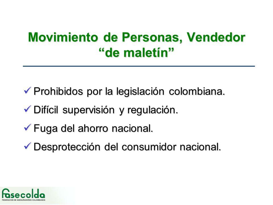 Movimiento de Personas, Vendedor de maletín Prohibidos por la legislación colombiana.