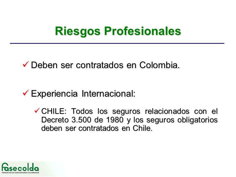Riesgos Profesionales Deben ser contratados en Colombia.