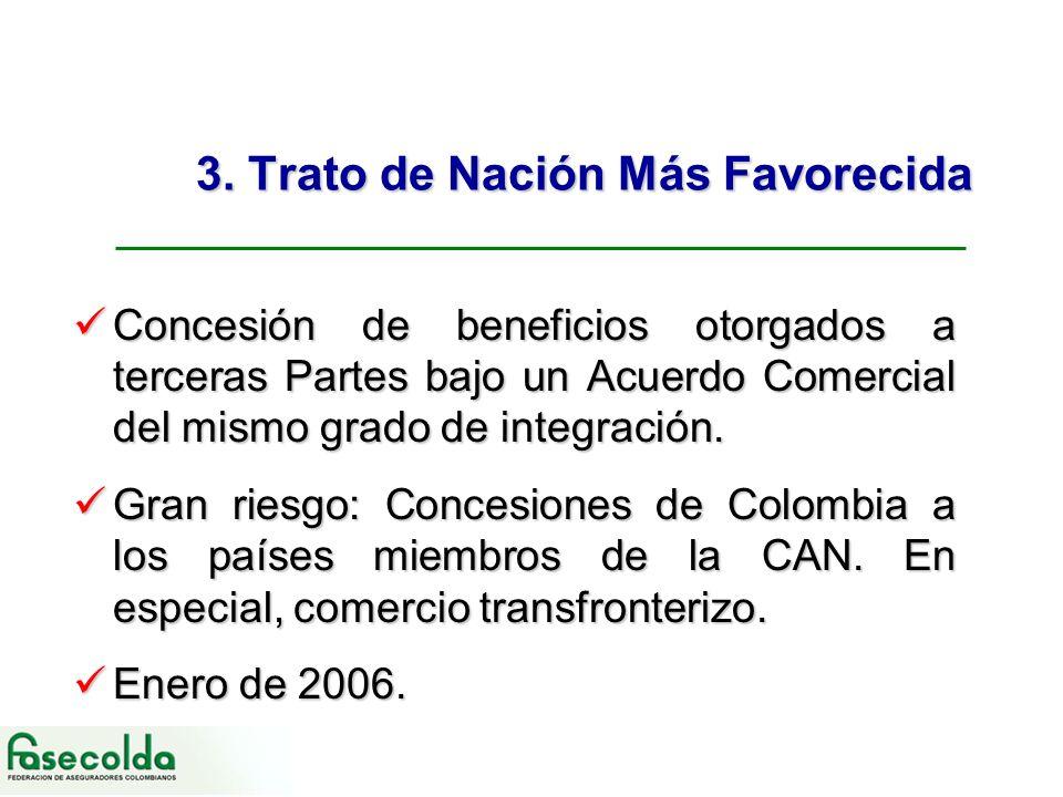 3. Trato de Nación Más Favorecida Concesión de beneficios otorgados a terceras Partes bajo un Acuerdo Comercial del mismo grado de integración. Conces