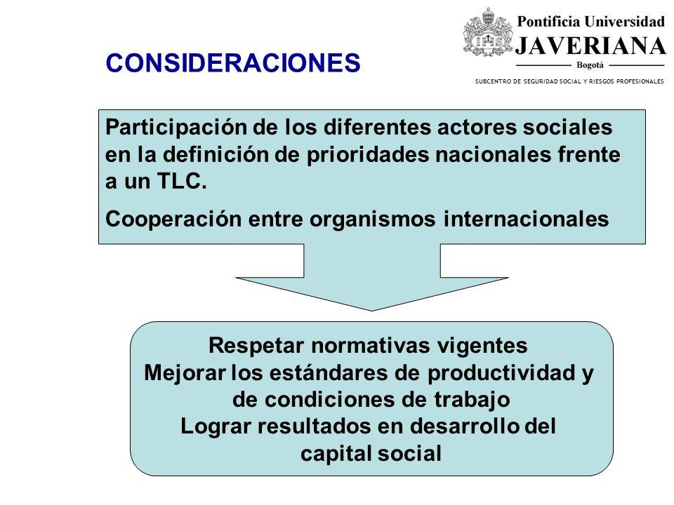 SUBCENTRO DE SEGURIDAD SOCIAL Y RIESGOS PROFESIONALES CONSIDERACIONES Participación de los diferentes actores sociales en la definición de prioridades nacionales frente a un TLC.