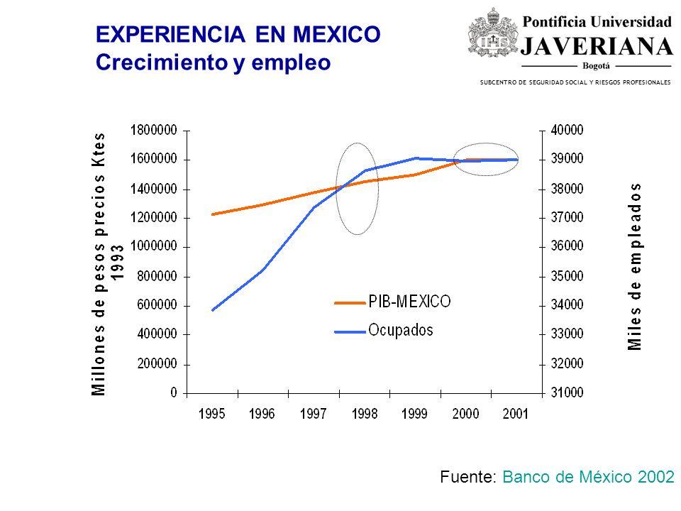 SUBCENTRO DE SEGURIDAD SOCIAL Y RIESGOS PROFESIONALES EXPERIENCIA EN MEXICO Crecimiento y empleo Fuente: Banco de México 2002