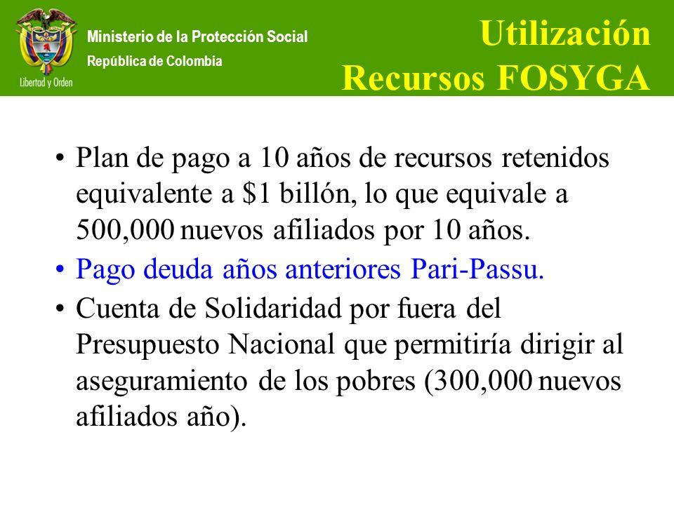 Ministerio de la Protección Social República de Colombia Utilización Recursos FOSYGA Plan de pago a 10 años de recursos retenidos equivalente a $1 bil